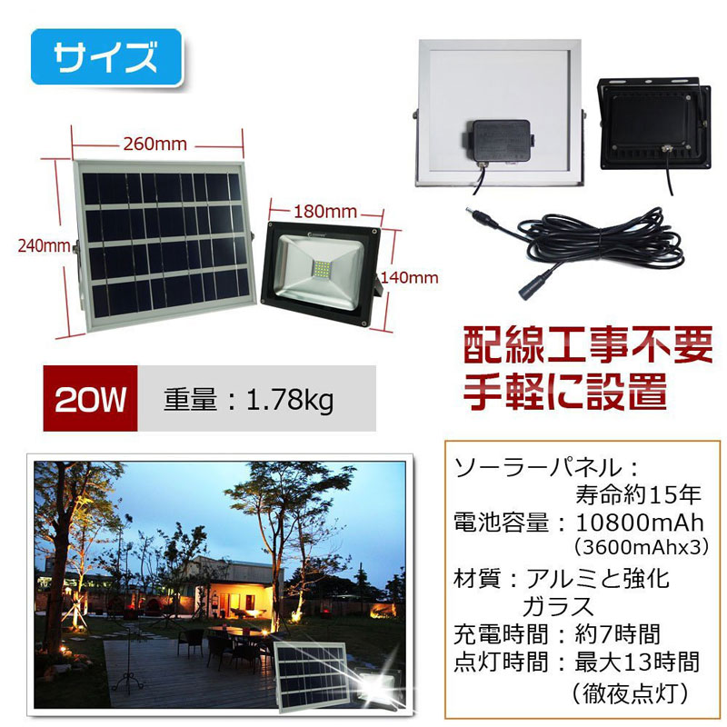 LEDソーラーライト 20W 夜間自動点灯 SMDチップ バッテリー簡単着脱 TYH-25T
