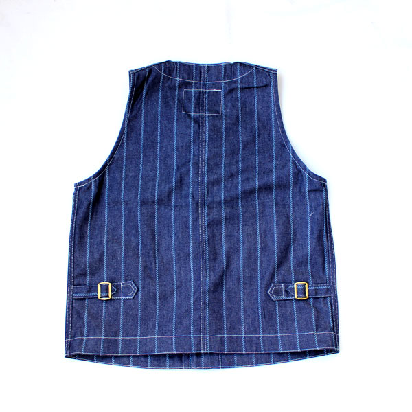 【Dapper's(ダッパーズ)】Classical Round Neck Work Vest LOT1458 スタンダード レイルローダー ワークベスト INDIGO DENIM ROPE WABASH