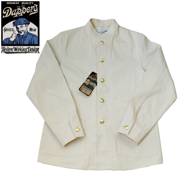 【Dapper's(ダッパーズ)】Classical Stand Collar Work Jacket LOT1457 スタンドカラー カバーオール ジャケット 10oz OFF WHITE COTTON100%