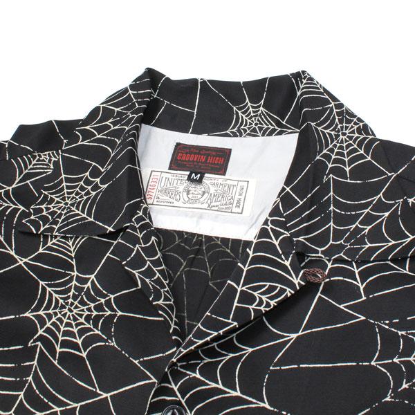 【The GROOVIN HIGH(ザ・グルーヴィンハイ)】TOOLS INFINITY 別注 ダブルネーム 1950s Style Spider Web Print Rayon  Shirt スパイダー柄 レーヨンシャツ