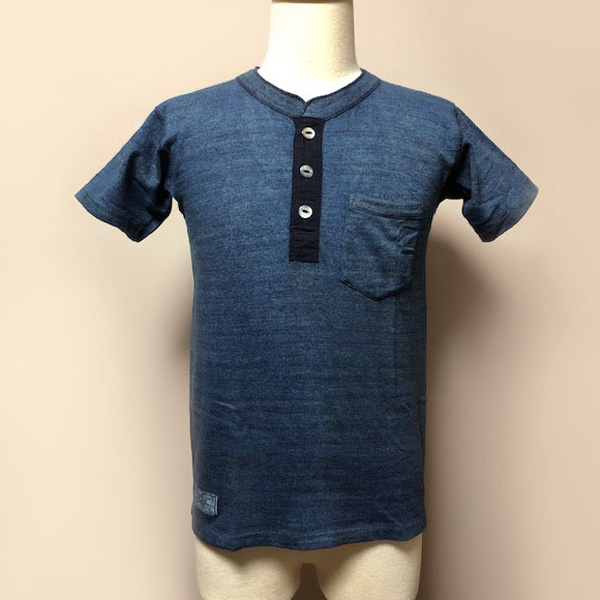 【Dapper's(ダッパーズ)】Natural Indigo Dye Henley Neck Tee Special Sewing Model LOT1401B