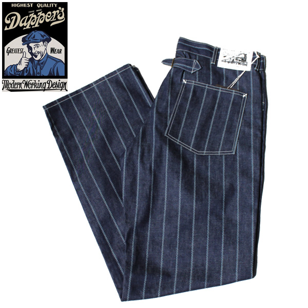 【Dapper's(ダッパーズ)】Classical Pasting Pocket Work Pants With Buckle Back LOT1462 INDIGO DENIM ROPE WABASH インディゴ ワバッシュ ウォバッシュ ストライプ VINTAGE ヴィンテージ