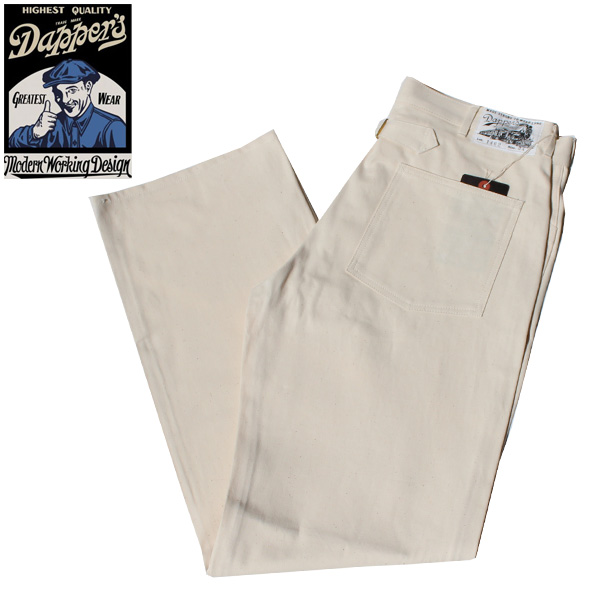 【Dapper's(ダッパーズ)】Classical Pasting Pocket Work Pants With Buckle Back LOT1462 生成り OFF WHITE 10oz  VINTAGE ヴィンテージ