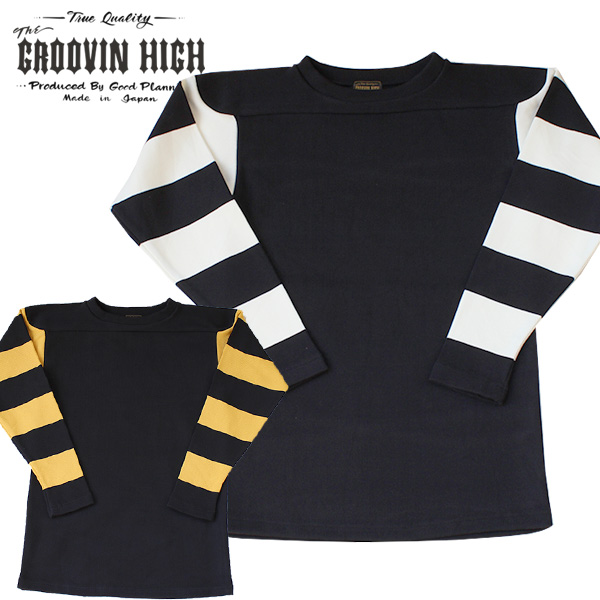【The GROOVIN HIGH(ザ・グルーヴィンハイ)】1940s style Heavy Cotton Tops Yellow & Ivory Stripe ボーダーTシャツ