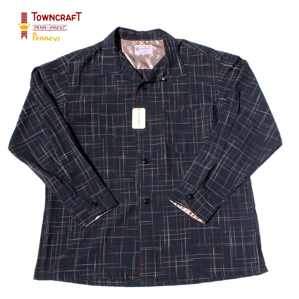 【TOWNCRAFT(タウンクラフト)】 50S OPEN SHIRTS CHECK OPEN SHIRTS 長袖オープンカラーシャツ