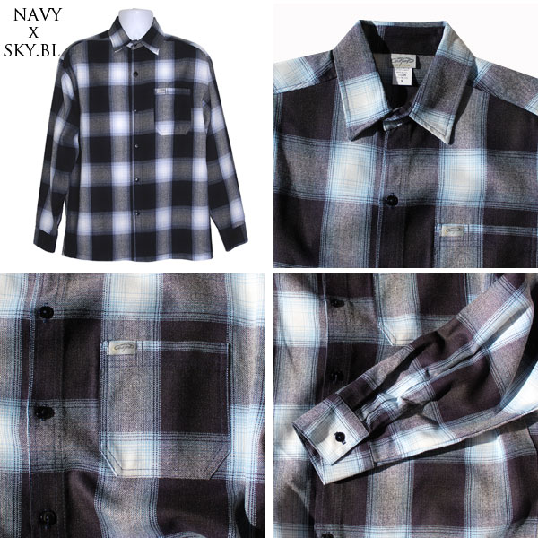 【CalTop(キャルトップ・カルトップ】 OMBRE CHECK L/S SHIRTS オンブレチェック 長袖シャツ