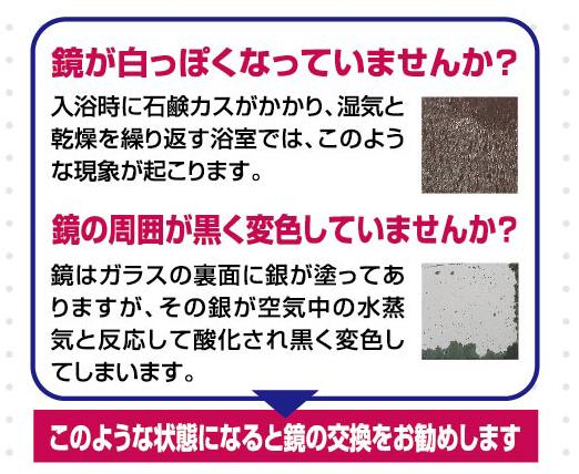 サイズオーダー鏡 防湿仕様【高さ407�〜457�×横100�〜254�】