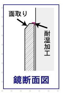 サイズオーダー鏡 防湿仕様【高さ306�〜406�×横407�〜457�】