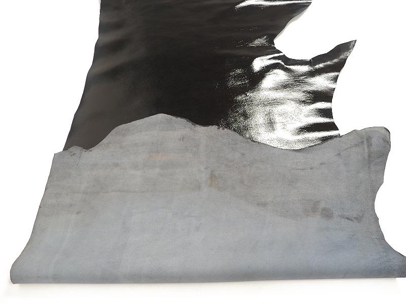 特価 型押しエナメル半裁(ブラック) #108