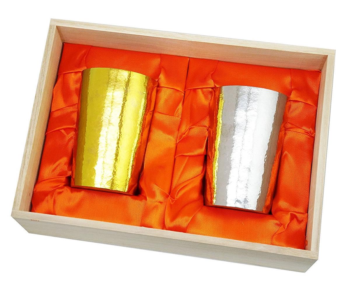 ホリエ 新潟県燕産 チタン 二重 タンブラー 窯創り 磨き 金&銀 2色セット 270cc【送料無料】
