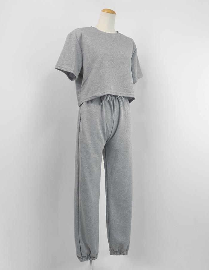 カットソーセットアップ 半袖 ゆったり グレー ミント ピンク カジュアル Tシャツ 裾絞りパンツ ルームウェア