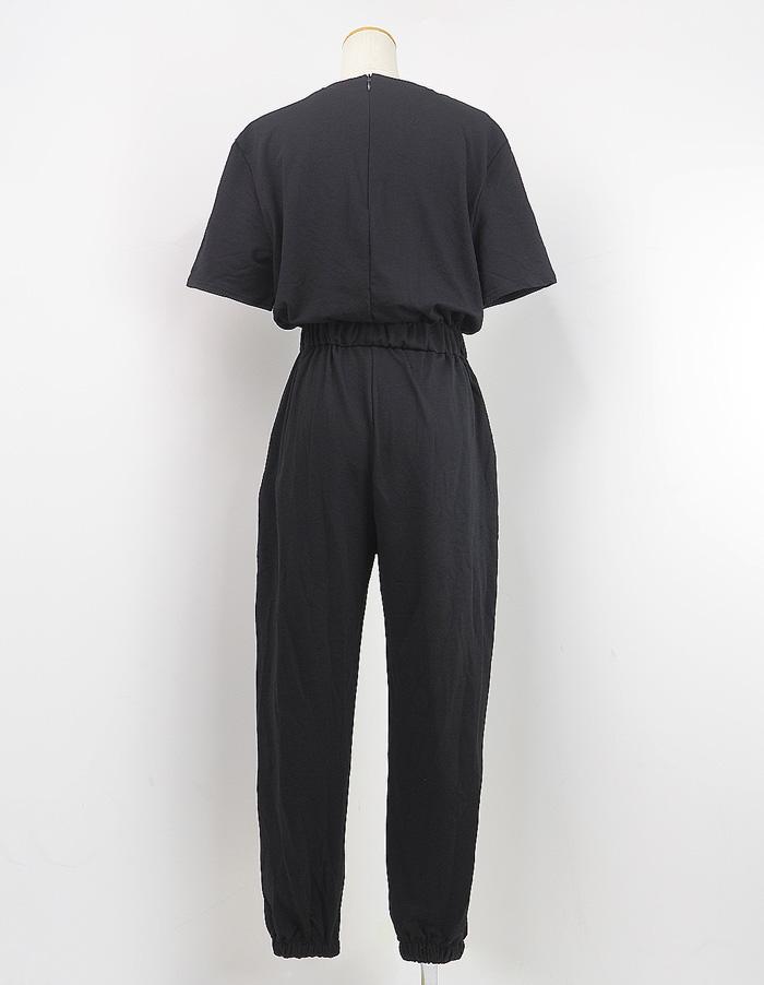 オールインワン サロペット 半袖 ゆったり グレー ブラック カジュアル Tシャツ サロペットパンツ ルームウェア