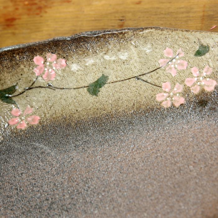 【益子焼】オーバル ワンプレートボウル 炭化焼シリーズ さくら桜【単品1枚】