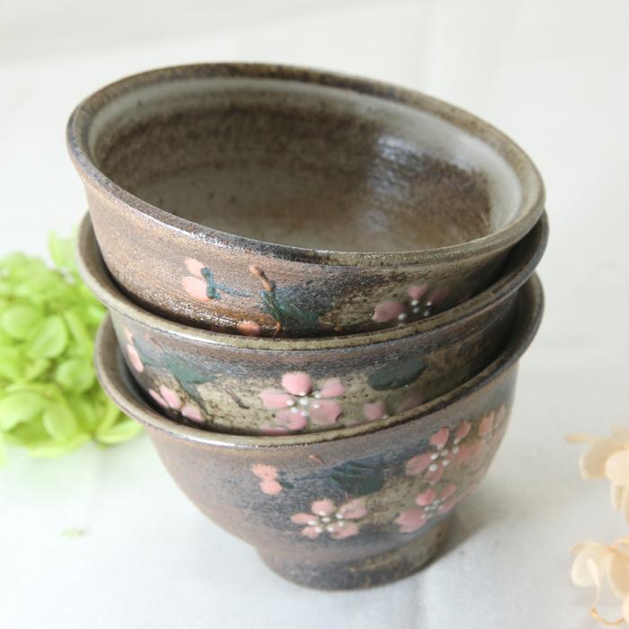 【益子焼】 煎茶カップ 汲み出し 煎茶碗 開いた形 さくら桜 単品1個