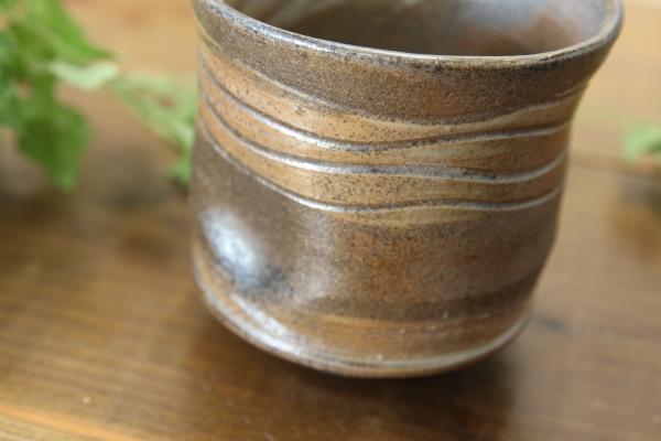 【益子焼】父の日敬老の日に 渋めのくし目焼酎カップ ロックカップ 【単品1個】
