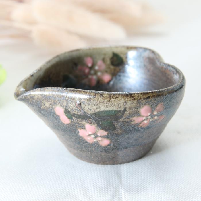 【益子焼】ハート風の小さなドレッシング入れ  小さな豆小鉢 片口風【さくら桜・単品1個】