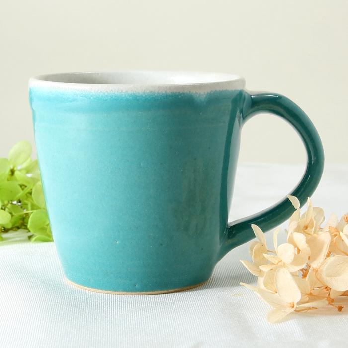 【益子焼】 釉シリーズ シンプルなぽってりマグカップ 【シスキーグリーン・単品1個】