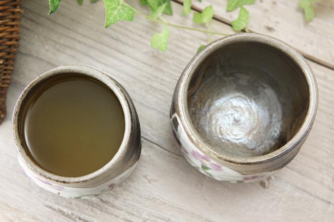 【益子焼】ミヤコワスレお寿司の湯呑み