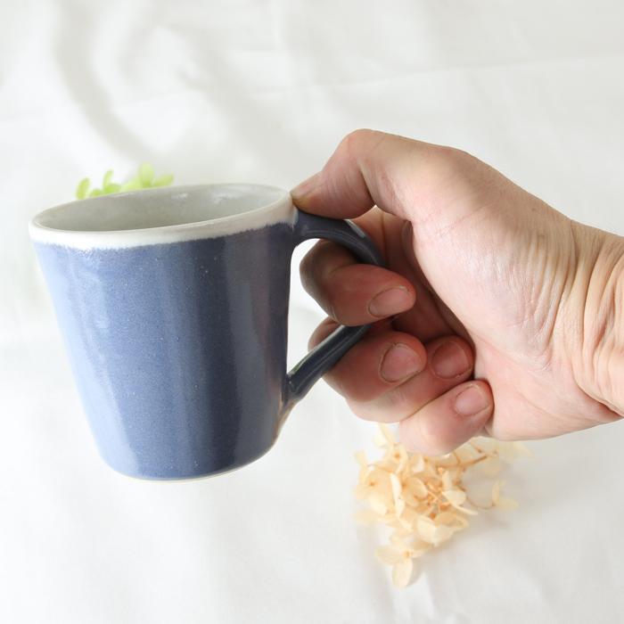 【益子焼】 釉シリーズ シンプルなぽってりマグカップ 【濃いめバイオレット・単品1個】