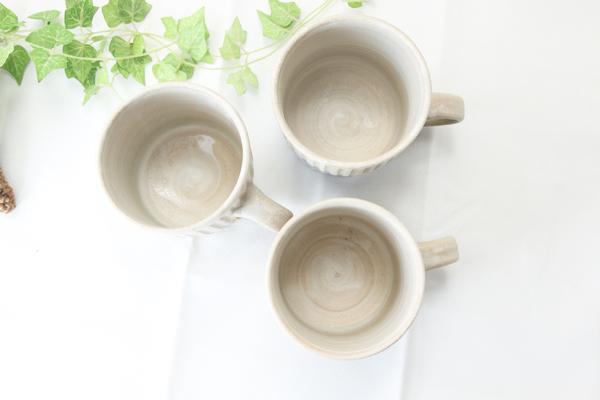 【益子焼】釉シリーズしのぎ&真っ直ぐなシンプル形の白マットマグカップ【大きめたっぷりサイズ・単品1個】