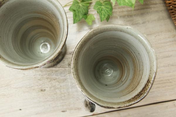 【益子焼】布目ぶどうの足付きシャンパン・ビールカップ【単品1個】
