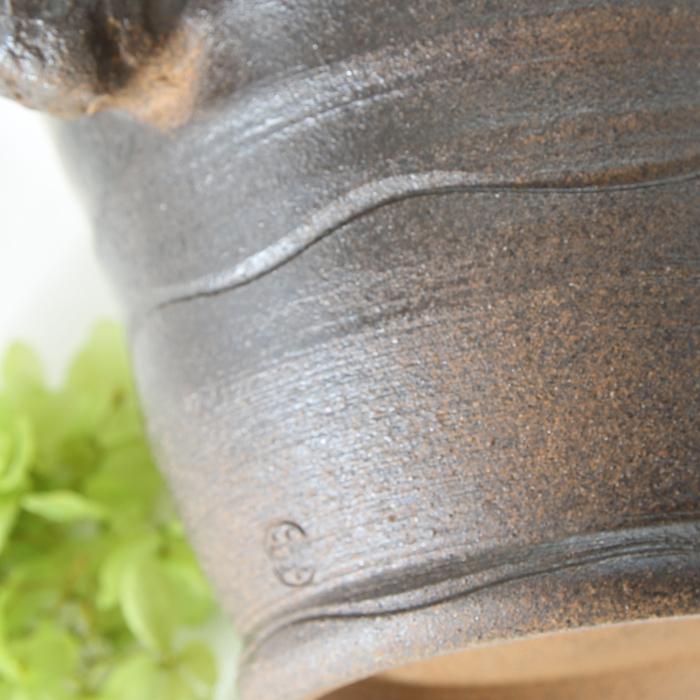 【益子焼】 氷入れ アイスペール 布目ぶどう 薪で叩いた持ち手 大きめサイズ 【単品1個】