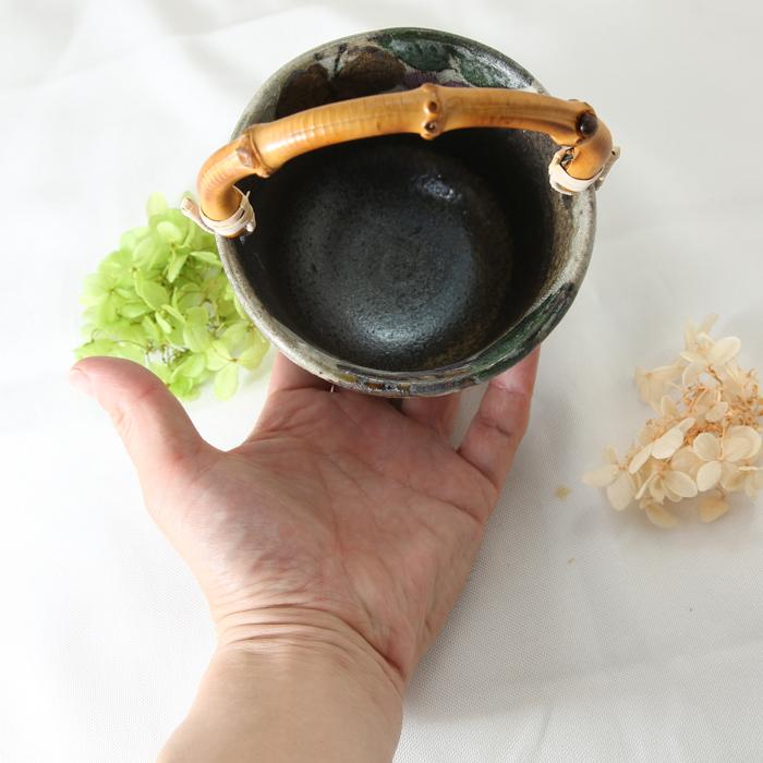 【益子焼】 氷入れ アイスペール 布目ぶどう 職人が作った竹の持ち手付き ミニミニサイズの氷入れ 【単品1個】