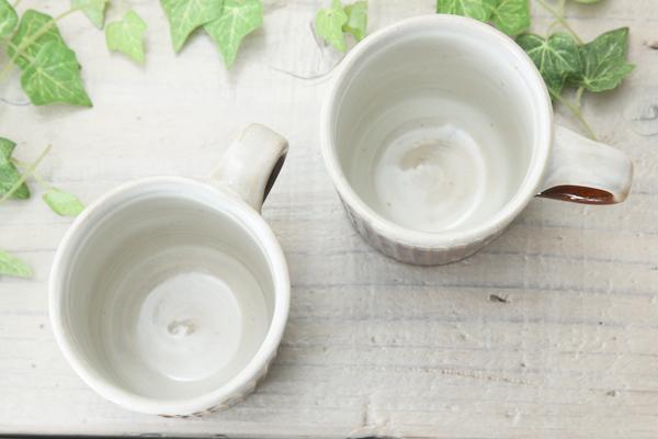 【益子焼マグカップ】しのぎ&2種釉薬の細めなマグカップ【単品1個】