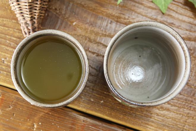 【益子焼】シンプルさぎ草のお湯のみ
