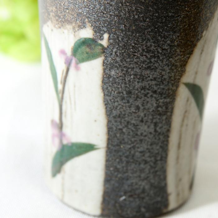 【益子焼】 スマート 背丈のある タンブラー フリーカップ ビールカップ 刷毛目つゆ草模様 炭化焼シリーズ 単品1個