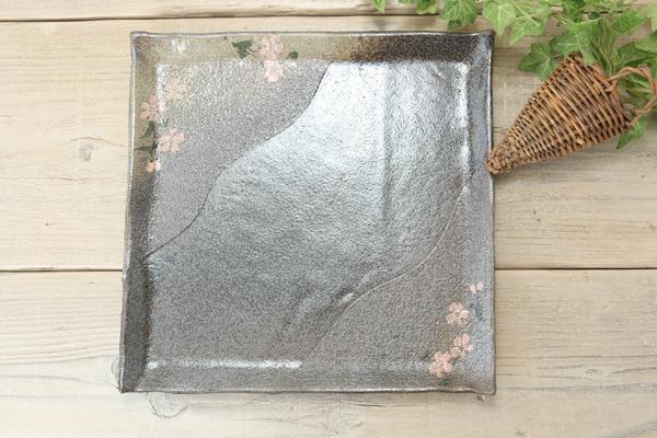 【益子焼】ホームパーティーに!さくら模様のたたら作りのオードブル四角プレート【単品1枚】