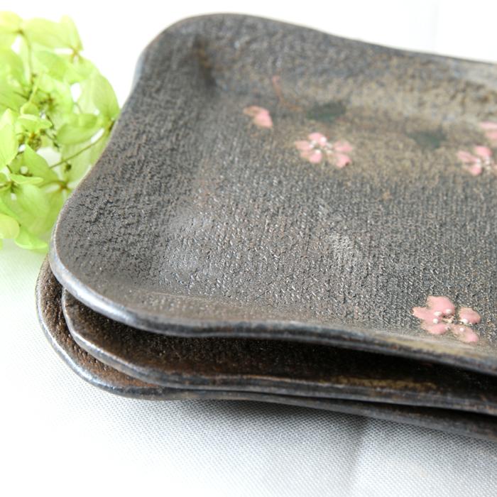 益子焼 炭化焼シリーズ  角丸の四角プレート 和菓子皿 ケーキ皿 さくら桜シリーズ 単品1枚