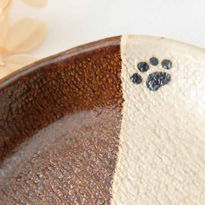 【益子焼】肉球シリーズ シンプルが使いやすい 丸小皿 丸豆皿【明るめのツヤありあめ黒】【単品1枚】