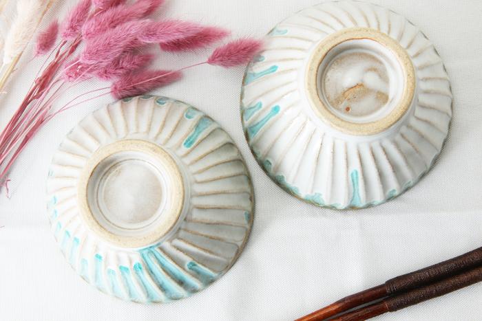【益子焼】【釉シリーズ】ブルーの風合いが魅力 しのぎシンプル丸ごはん茶碗【ブルー単品1個】