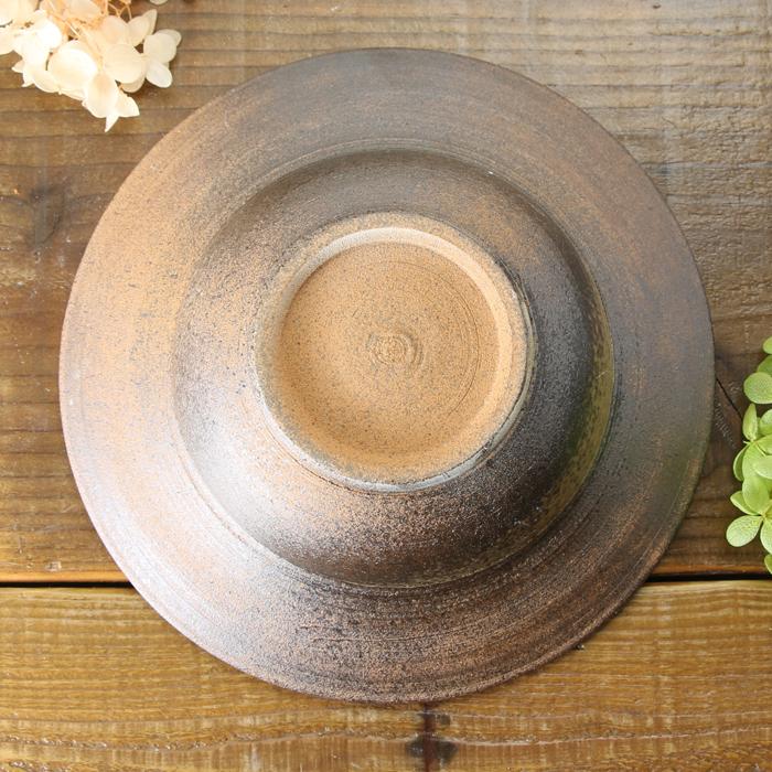 【益子焼】ろくろで豪快に開いたリム盛り鉢 【さくら桜模様・サイズ大】【単品1枚】