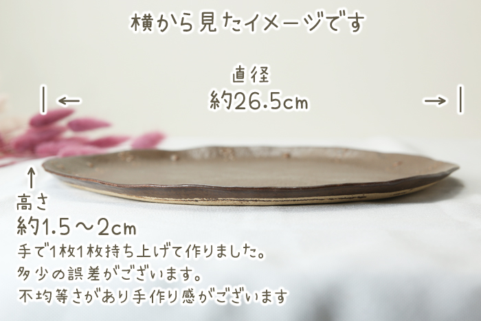 益子焼 釉薬シリーズ いっちんドット柄 ワンプレート皿 ピザ皿 約26.5cm 単品1枚