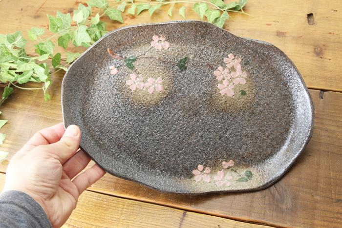 【益子焼】たたら作りの変形パンプレート【サイズ大】【さくら模様単品1枚】