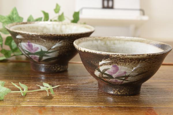 【益子焼】ススキとリンドウの夫婦茶碗
