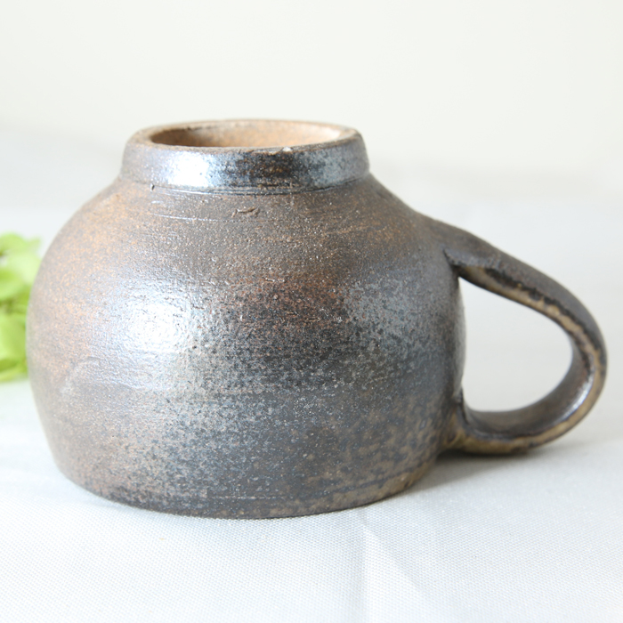 【益子焼】コロンっと丸い形 大きめマグカップ 【さくら・単品1個】