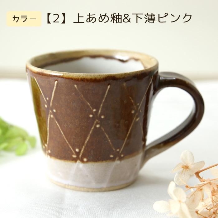 【益子焼】釉シリーズ ななめラインドットいっちん マグカップ 【単品1個】