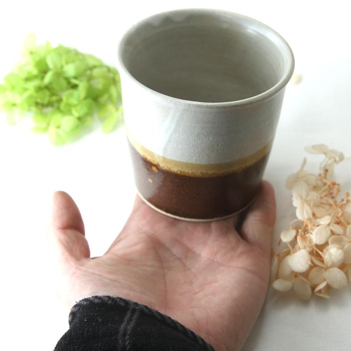 【益子焼】釉シリーズ シンプル寸胴 フリーカップ 焼酎カップ 白マット&あめ釉の2種釉薬 【単品1個】