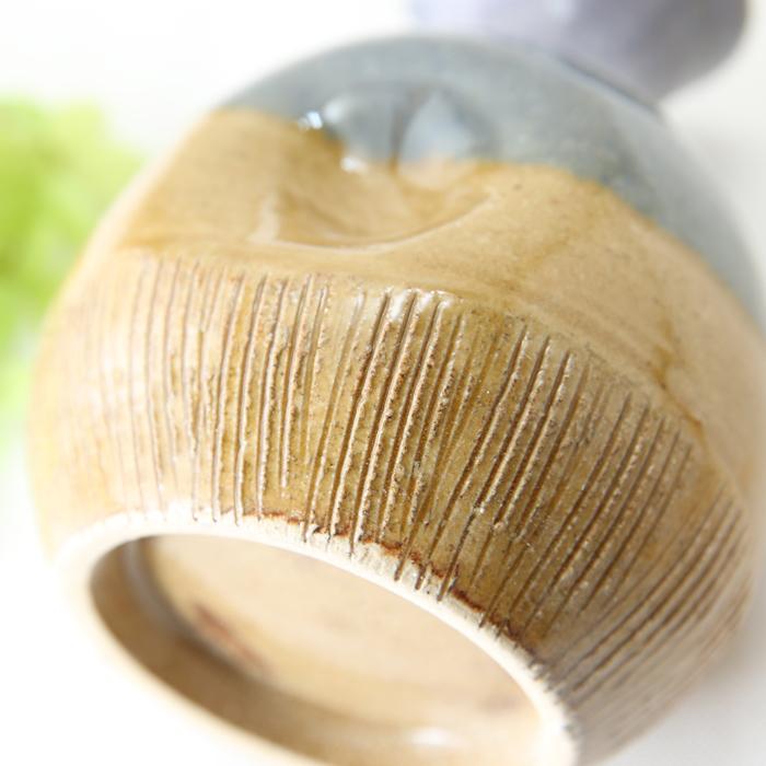 【益子焼】釉シリーズ 酒器セット 酒器揃え クシ目のデザインバイオレットと薄あめ釉 【とっくり1本・おちょこ2個のセット】