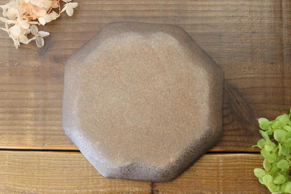 益子焼 炭化焼シリーズ  八角ケーキプレート皿 約17cm さくら桜シリーズ 単品1枚