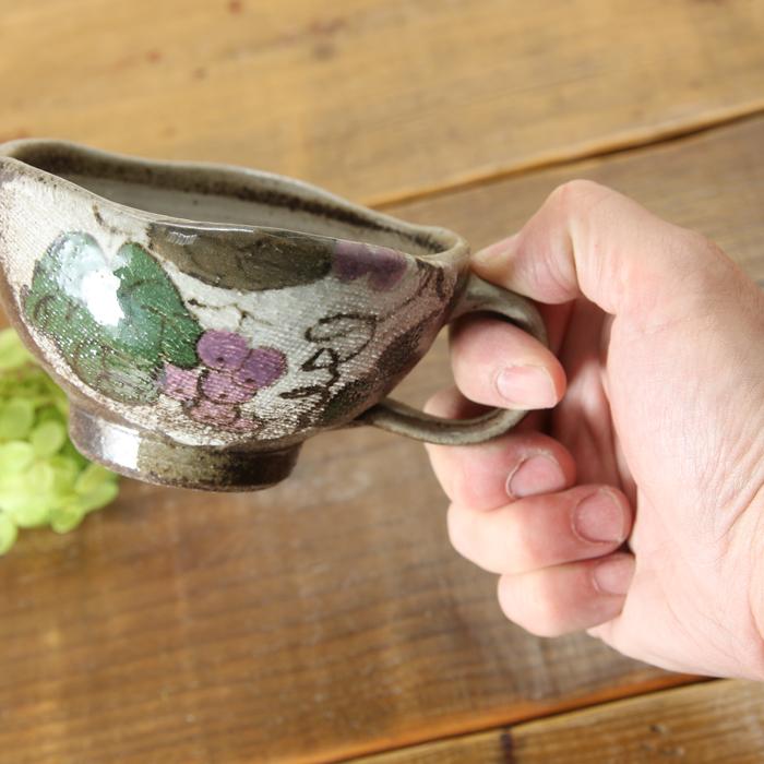 【益子焼】 スープカップ スープボウル 浅め 取っ手付き 布目ぶどう模様 単品1個