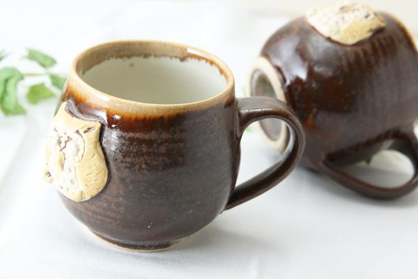 【益子焼】釉シリーズ アニマルシリーズ フクロウの大きめたっぷりマグカップ【益子あめ黒・単品1個】