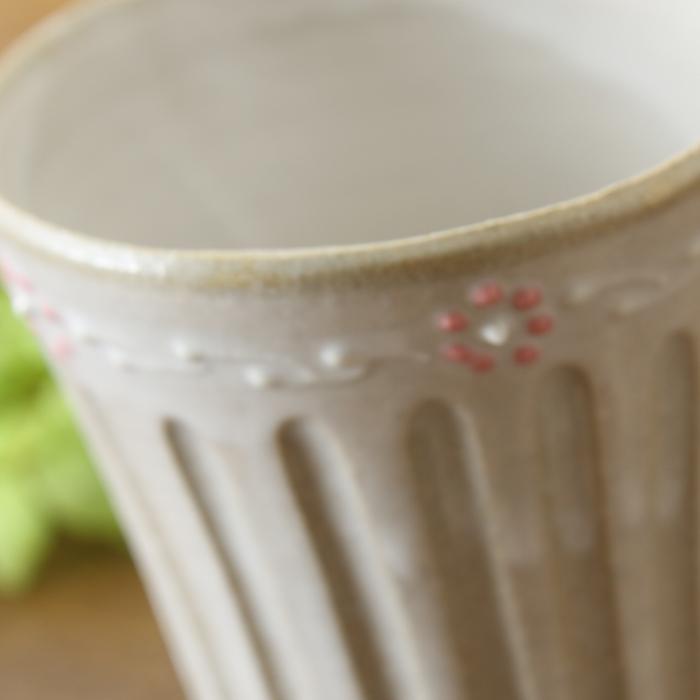 【益子焼】釉シリーズ いっちんしのぎのお手頃フリーカップ 【お花風ピンクいっちん入り・単品1個】