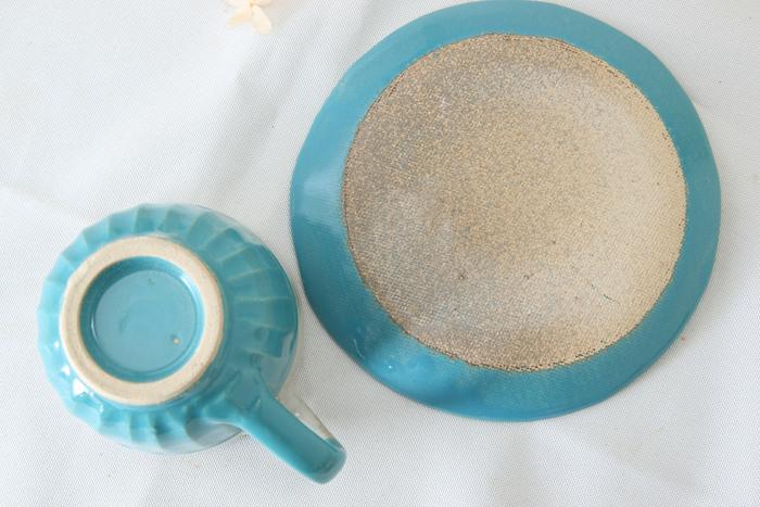 【益子焼】釉シリーズ コーヒーカップ&ソーサー お手頃なサイズ しのぎ入り 【単品1客】
