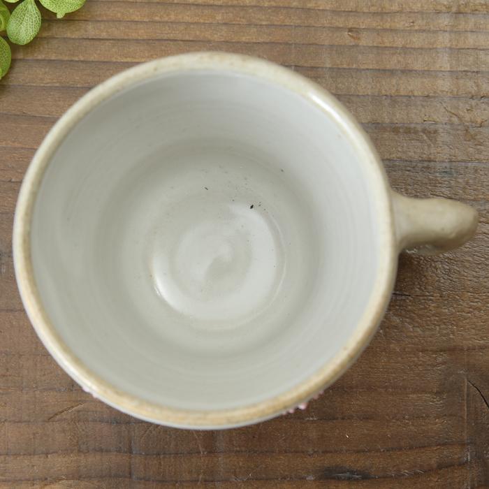 【益子焼】釉シリーズ コーヒーカップ&ソーサー しのぎ  【お花風ピンクいっちん入り・単品1客】