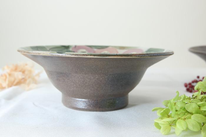 【益子焼】ろくろで豪快に開いたリム盛り鉢 【サイズ大】【単品1枚】