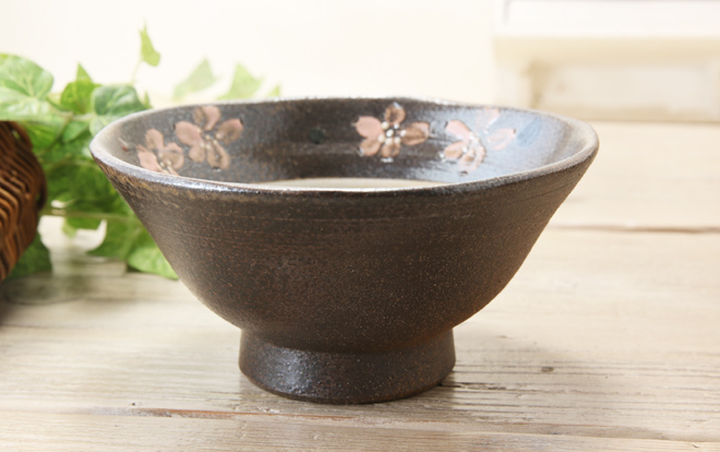 【益子焼】開いた形のさくらの深さのある小鉢【単品1個】